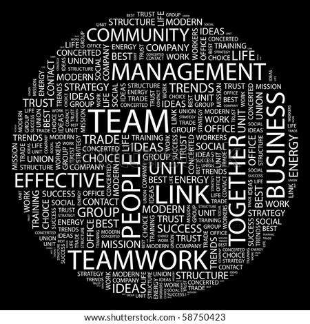 TEAM. Word collage on black background. Illustration with different association terms. - stock vector
