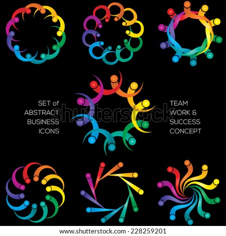 Team work concept abstract icon set