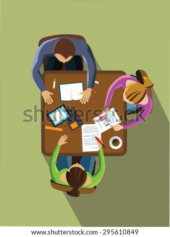 Team work concept. People siting from the table top view. - stock vector
