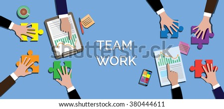 team work concept work together use puzzle or jigsaw vector illustration - stock vector