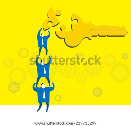 Team work :Find the key point - stock vector
