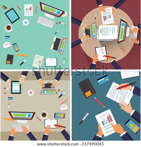 Team work. Hands and computers on the round desk. Illustration set. - stock vector