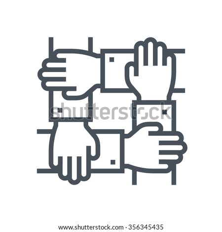Team work icon suitable for info graphics, websites and print media and  interfaces. Line vector icon. - stock vector