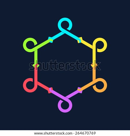 Team work logo template. Concept of community friendship, unity. Isolated on black background. Vector illustration, eps 8. - stock vector