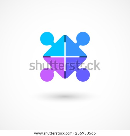 Team work logo template. Puzzle of four pieces/people.Concept of community friendship, unity. Isolated on white background. Vector illustration, eps 10. - stock vector