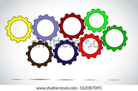 team work or success concept design vector illustration art - different colorful cog wheels or gears next to each other with bright white background - stock vector