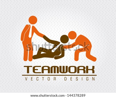 team work over dotted background vector illustration - stock vector