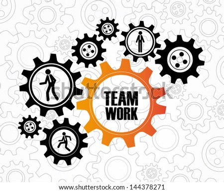 team work over gears background vector illustration - stock vector