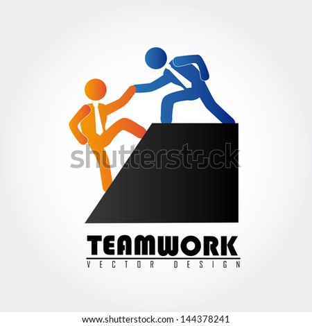 team work over gray background vector illustration - stock vector