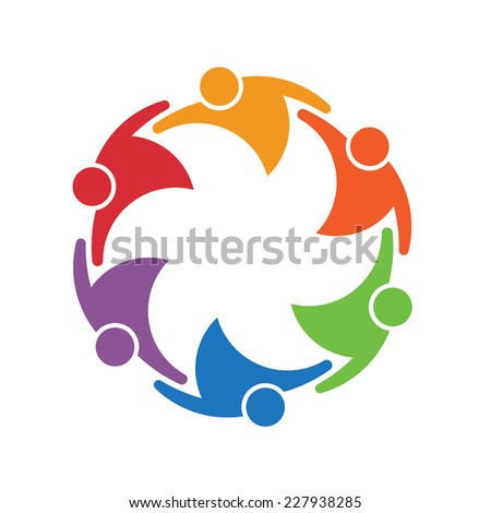 Team work people group of 6 in a circle. Concept of union.Vector icon - stock vector