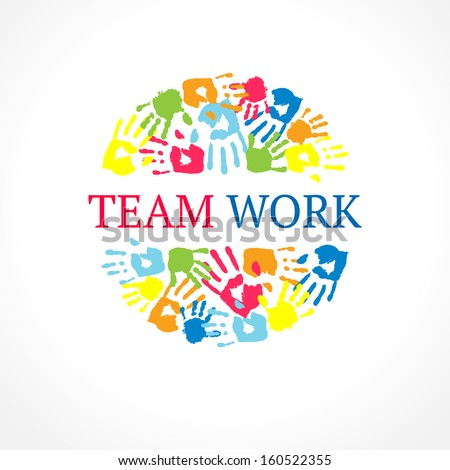 Team work symbol. Vector creative concept. - stock vector