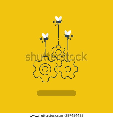 Team work. Team building. Engineering, technology and design. Joint venture. - stock vector