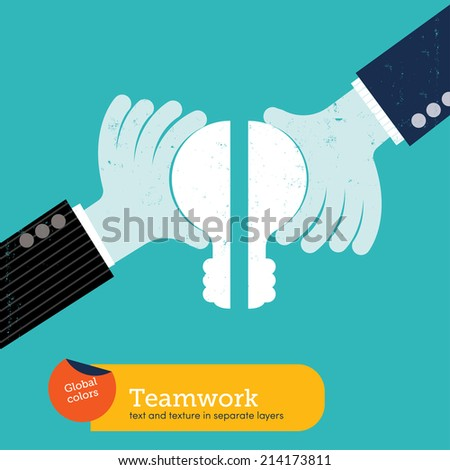 Team working hand with bulb. Vector illustration Eps10 file. Global colors. Text and Texture in separate layers. - stock vector