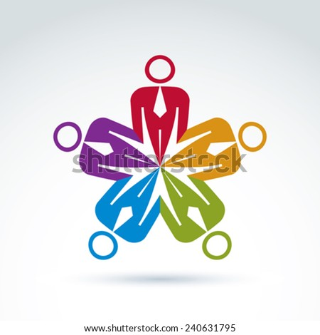 Teamwork and business team and friendship icon, social group, organization, vector conceptual unusual symbol for your design. - stock vector