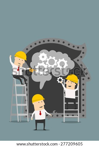 Teamwork and cooperation concept with three cartoon businessmen and builders in hardhats assembling a brain with gear wheels in a silhouette of a head, may concept of brain repair - stock vector