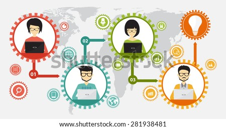 teamwork and coworking infographic business concept, flat design style - stock vector
