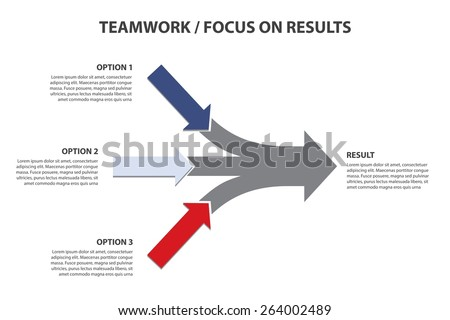 Teamwork and Focus on Results - 3 in 1 Horizontal Converging Arrows, Vector Infographic - stock vector