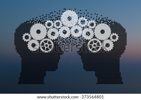 Teamwork and Leadership with education symbol represented by two human heads shaped with gears and cogs representing the concept of intellectual communication through technology exchange.  - stock vector