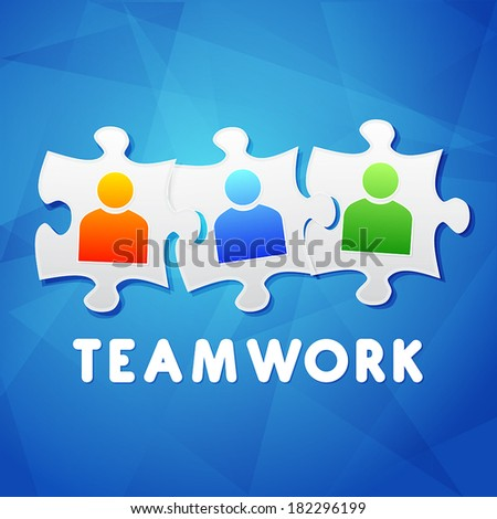 teamwork and puzzle pieces with person signs over blue background, flat design, business team building concept, vector - stock vector