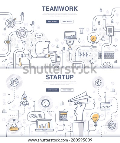 Teamwork and startup. Doodle design style concept of building new business, SEO, teamwork and management, company processes. Modern concepts for web banners and printed materials - stock vector