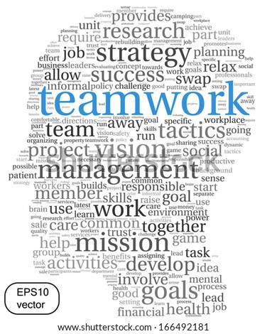 Teamwork and strategy vector concept in word tag cloud - stock vector