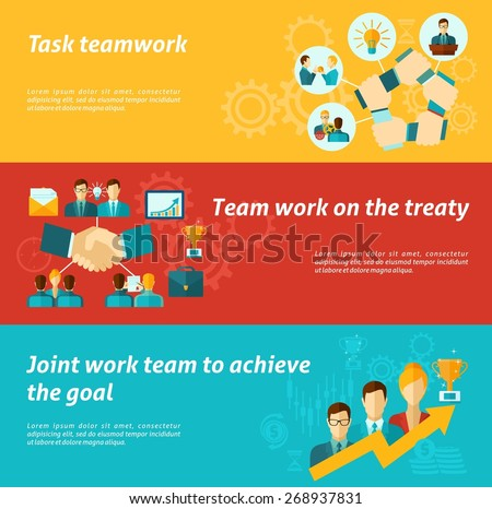 Teamwork banner set with business team organization work success elements isolated vector illustration - stock vector