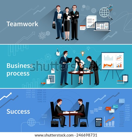Teamwork banners set with business process and success elements isolated vector illustration - stock vector