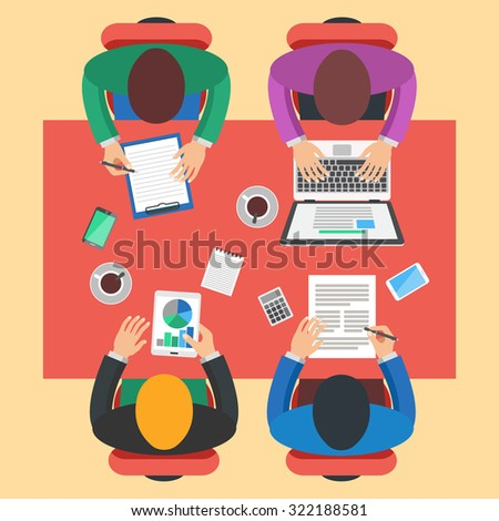 Teamwork, brainstorming concept. Group of people working, top view. Flat design vector illustration. - stock vector