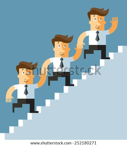 teamwork. Business people climbing staircase together. Business flat vector illustration.