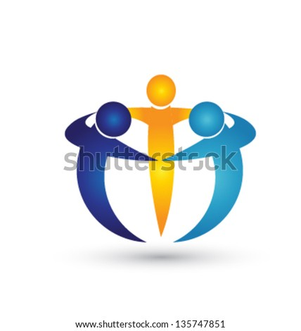 Teamwork business people icon vector - stock vector