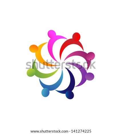 Teamwork business people illustration vector - stock vector