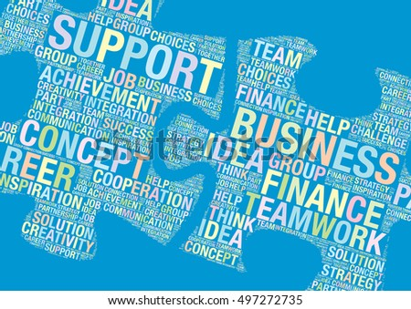 Teamwork Business word cloud concept made of puzzle pieces, vector