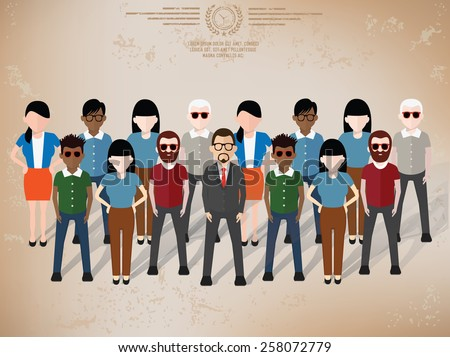 Teamwork character design on old paper background,grunge vector - stock vector