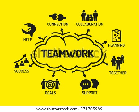 Teamwork. Chart with keywords and icons on yellow background - stock vector
