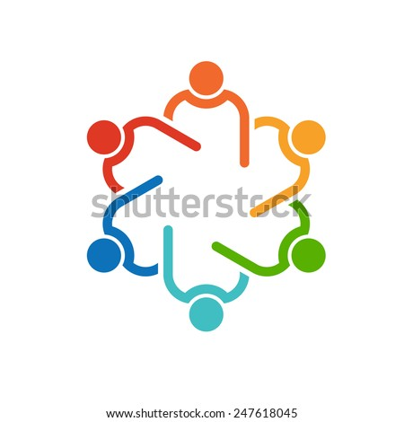 Teamwork 6 circle interlaced.Concept group of connected people , helping each other.Vector icon - stock vector