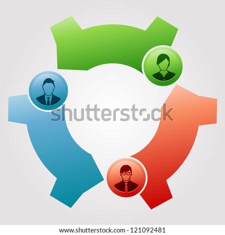 Teamwork Cog Flow - stock vector