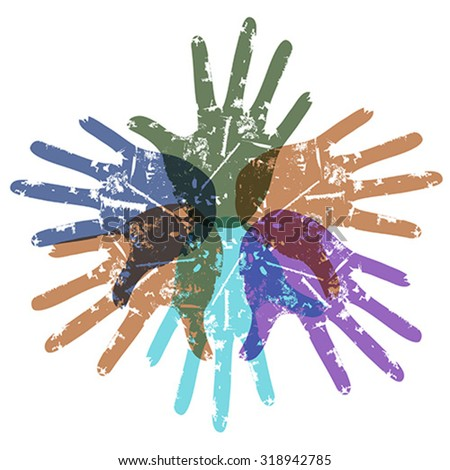 teamwork color hands around - stock vector