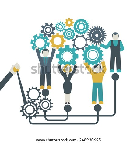Teamwork company organization concept with people holding cog wheels vector illustration - stock vector
