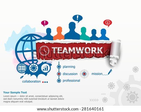 Teamwork concept  and group of people. Set of flat design illustration concepts for business, consulting, finance, management, career, human resources.   - stock vector