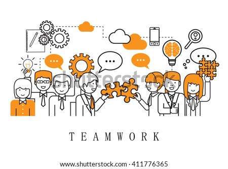 Teamwork Concept, Business People Team-On White Background-Vector Illustration, Graphic Design - stock vector