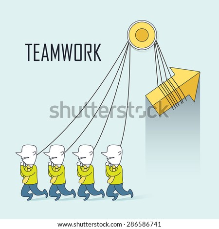 teamwork concept: businessmen pulling up an arrow together in line style - stock vector