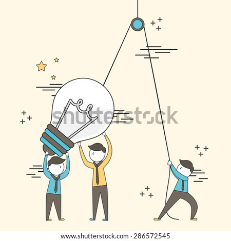 teamwork concept: businessmen setting up a big lighting bulb in line style - stock vector