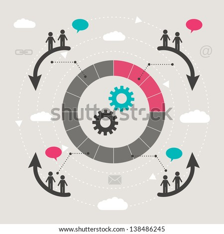 teamwork concept - connection - stock vector