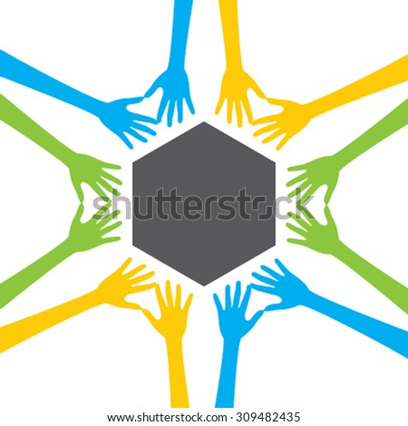 teamwork concept, every people support and write your text in blank area concept design vector - stock vector