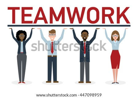 Teamwork concept. Four businessmen holding placard teamwork. Success in business, career and communication. Happy partership helps find solution and achieve success. - stock vector