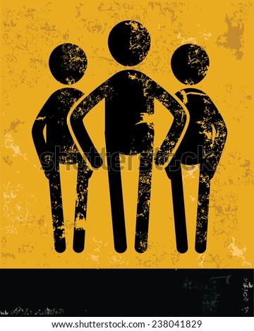 Teamwork concept,human resource design on yellow background,grunge vector - stock vector