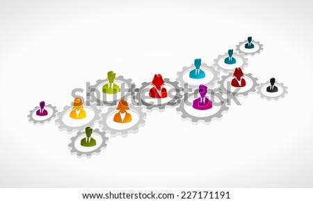 Teamwork concept illustration. Abstract vector cogwheel gear - stock vector