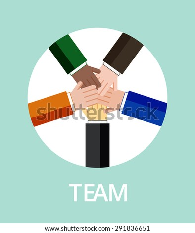 Teamwork concept in flat design. Hands connected for team unity. Vector illustration, eps 10. - stock vector