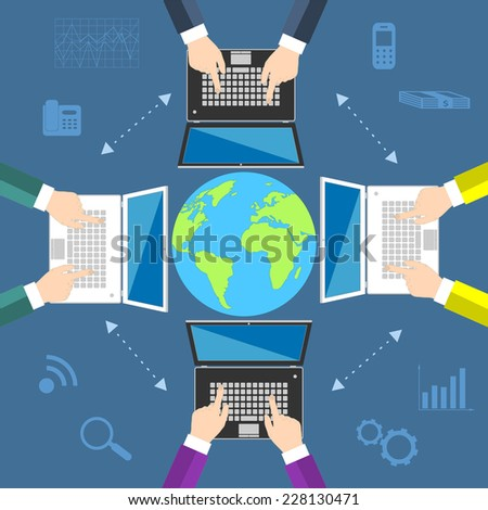 Teamwork. Concept of global business communication. Laptops and businessmen around the globe. Flat vector illustration EPS10 - stock vector