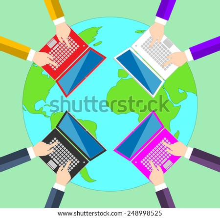 Teamwork. Concept of global business communication. Laptops and people all over the world . Flat vector illustration EPS10 - stock vector